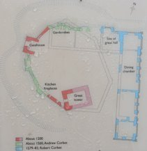 plan of moreton corbet castle photographed from an english heritage information board.