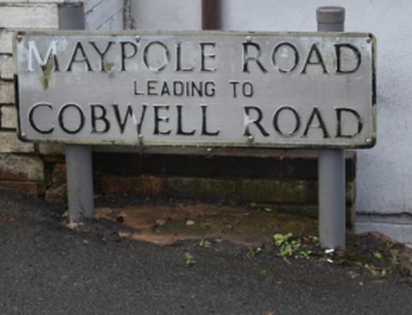 the road sign for cobwell road among the broseley jitties, shropshire. its was a tough return walk when carrying your water.