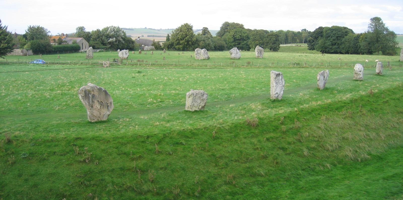 The ditch surrounding the Avebury Stone Circle © essentially-england.com