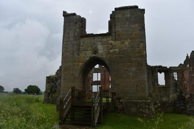 the medieval gatehouse of moreton corbet castle in rural shropshire