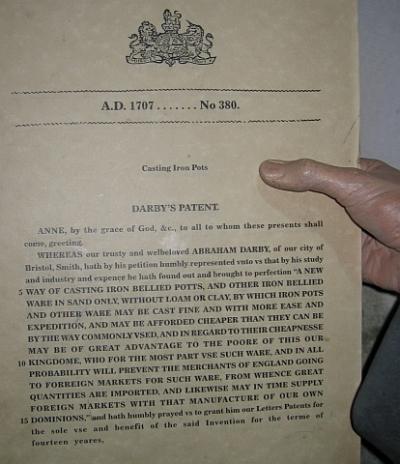 Abraham Darby I Patent © essentially-england.com
