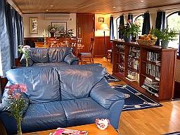 Interior of Thames river barge Magna Carta
