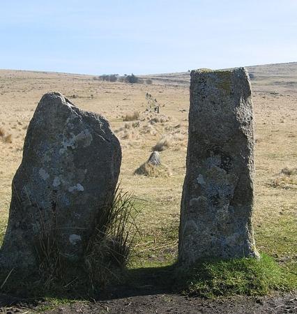 Prehistoric standing stones at Merrivale, Devon