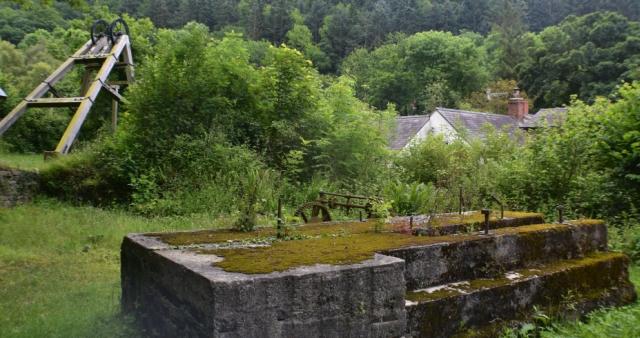 tom black shaft entrance and mine head at snailbeach mine in shropshire