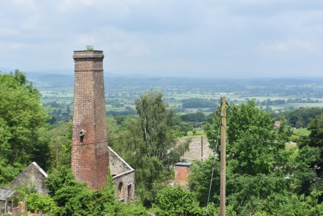 view over the shropshire plain from high in the hills at snailbeach mine