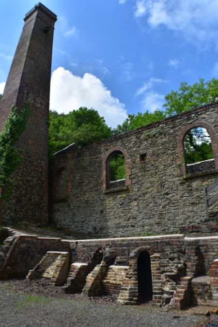 one of the many remaining mine buildings at snailbeach mine in shropshire