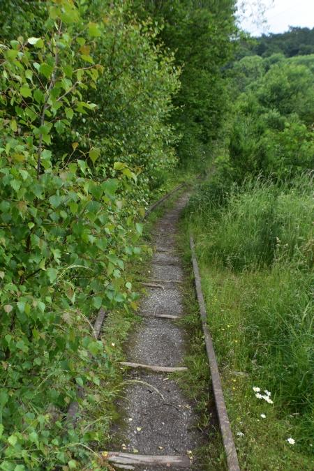sdr railway heading towards black tom head at the snailbeach mine in shropshire