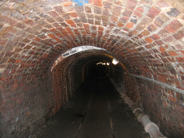 Inside the Tar Tunnel, part of the Ironbridge Gorge World Heritage Site in Shropshire.