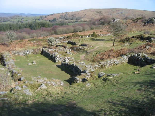 Remains of the deserted medieval village on Hound Tor