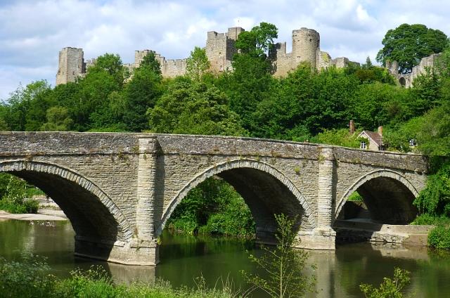 Beautiful View from the Bread Walk over Dinham Bridge to Ludlow Castle © essentially-england.com