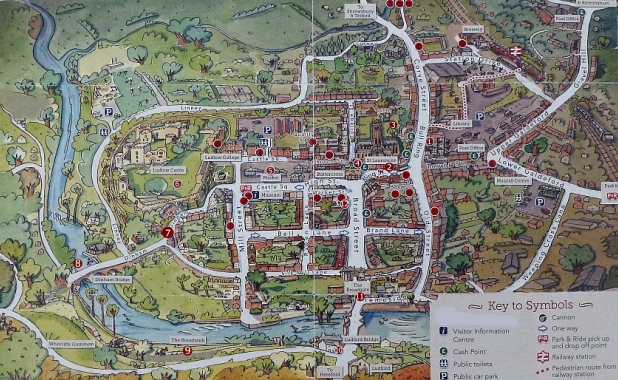 Town Map with Numbered Points to Follow on our Tour © essentially-england.com