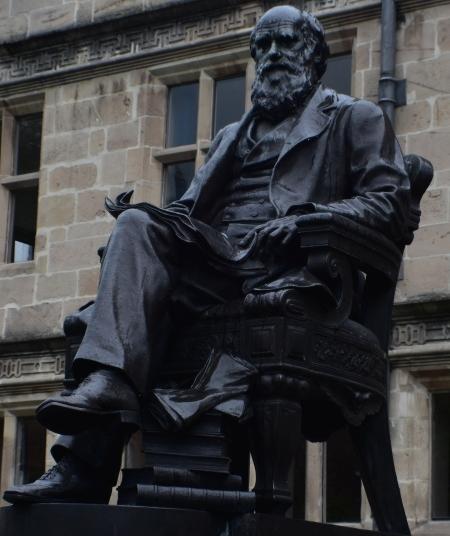 Charles Darwin statue outside Shrewsbury town library © essentially-england.com