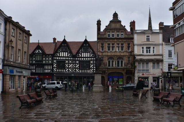 Shrewsbury town square is surrounded by impressive buildings © essentially-england.com